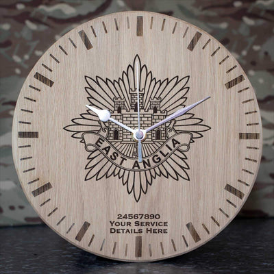East Anglia Regiment Oak Clock