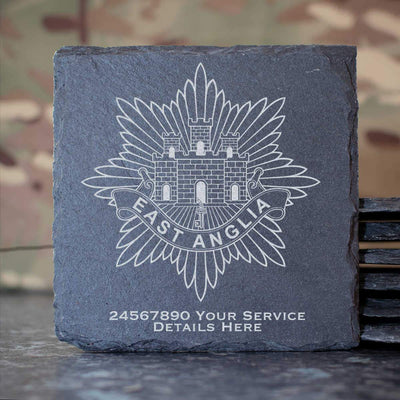 East Anglia Regiment Slate Coaster