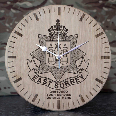 East Surrey Regiment Oak Clock