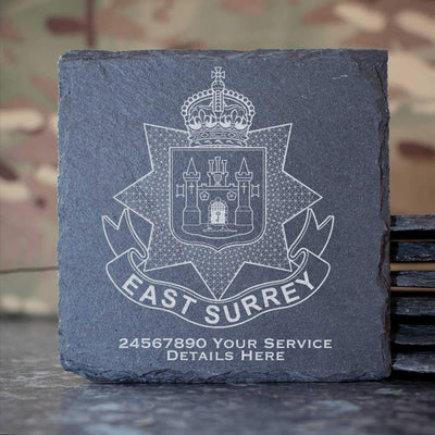 East Surrey Regiment Slate Coaster
