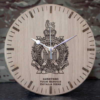 Kings Own Scottish Borderers Oak Clock