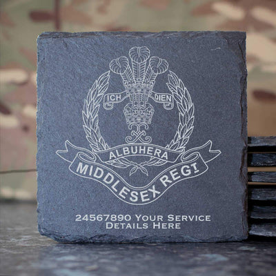 Middlesex Regiment Slate Coaster