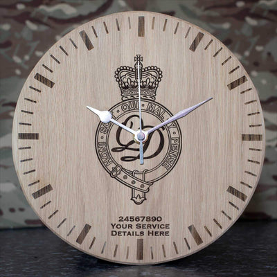 Minden Band of the Queens Division Oak Clock