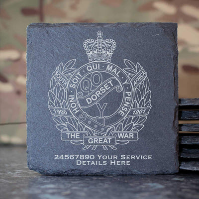 Queens Own Dorset Yeomanry Slate Coaster