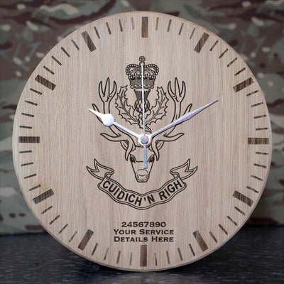 Queens Own Highlanders Oak Clock