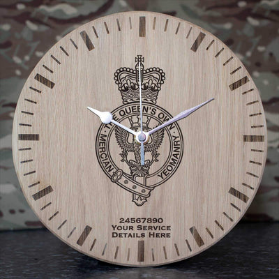 Queens Own Mercian Yeomanry Oak Clock