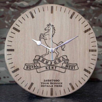 Queens Own Royal West Kent Regiment Oak Clock