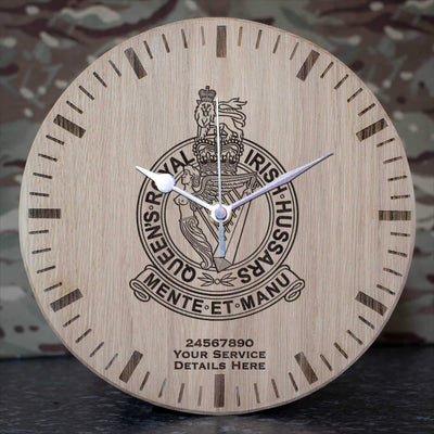 Queens Royal Irish Hussars Oak Clock