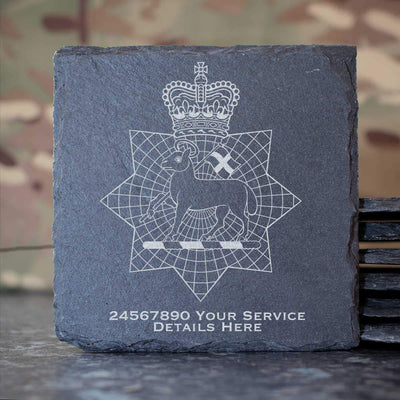 Queens Royal Surrey Regiment Slate Coaster