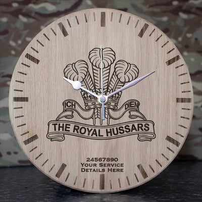 Royal Hussars (POW) Oak Clock