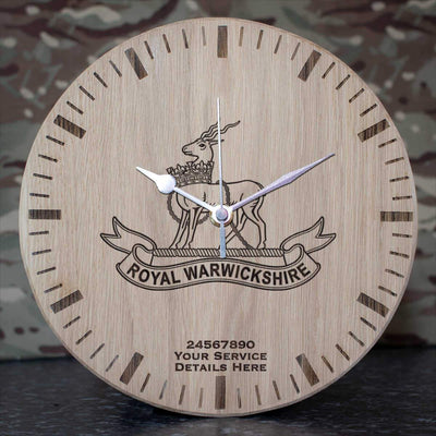 Royal Warwickshire Fusiliers Oak Clock