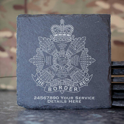The Border Regiment Slate Coaster