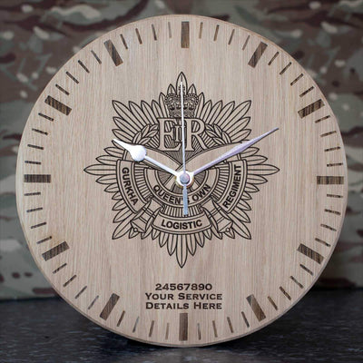 Queens Own Gurkha Logistic Regiment Oak Clock
