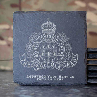 The Suffolk Regiment Slate Coaster