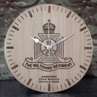 Wiltshire Regiment (Kings Crown) Oak Clock