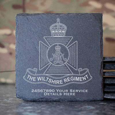 Wiltshire Regiment (Kings Crown) Slate Coaster