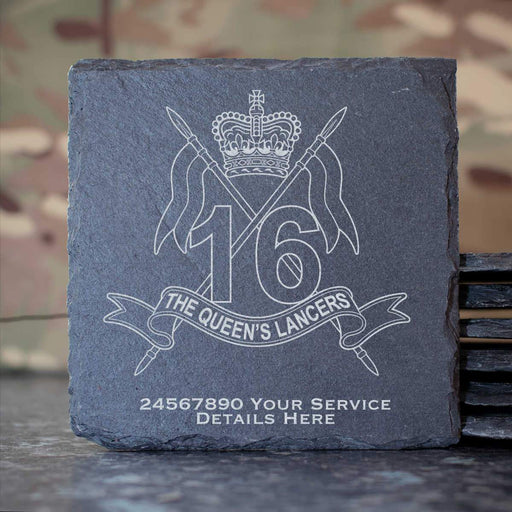 16th5th Queens Royal Lancers Slate Coaster
