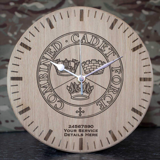Combined Cadet Force Oak Clock