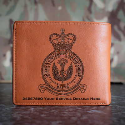 RAF Queens University Air Squadron Leather Wallet