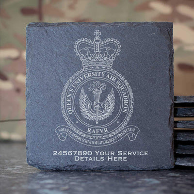 RAF Queens University Air Squadron Slate Coaster