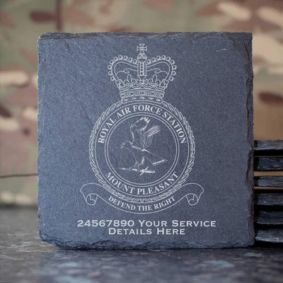 RAF Station Mount Pleasant Slate Coaster