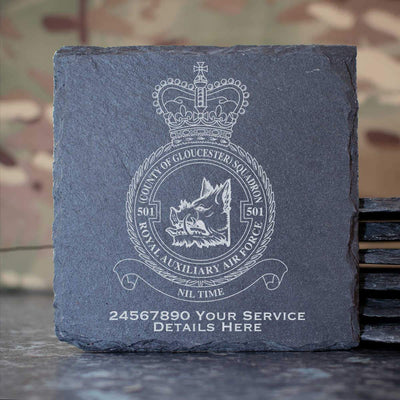 RAuxAF 501 (County of Gloucester) Squadron Slate Coaster