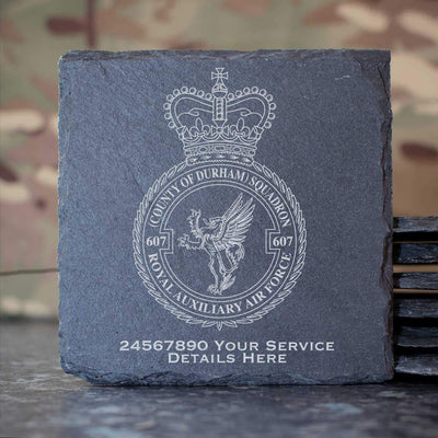 RAuxAF 607 (Country of Durham) Squadron Slate Coaster