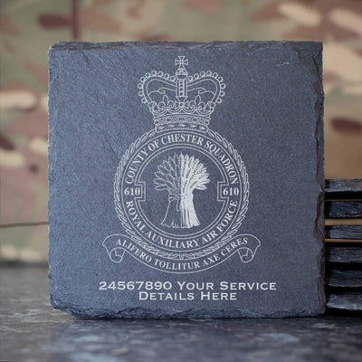RAuxAF 610 County of Chester Squadron Slate Coaster