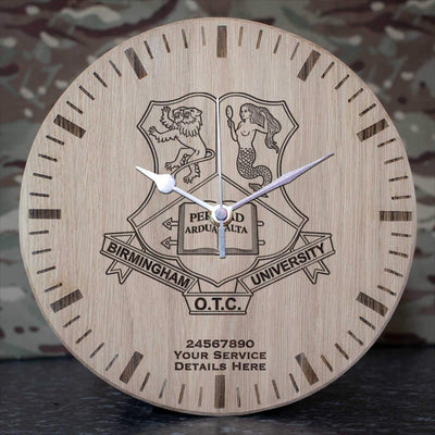 Birmingham University Officer Training Corps Oak Clock