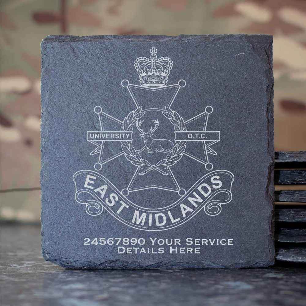 East Midlands university Officers Training Corps Slate Coaster