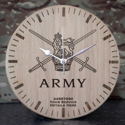 Army Logo Oak Clock