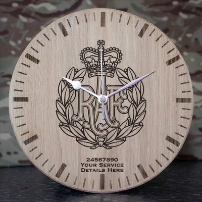 RAF Cap Badge Oak Clock