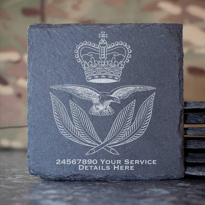 RAF Warrrant Office Cap Badge Slate Coaster