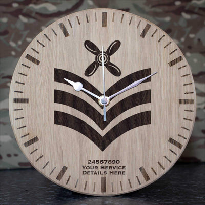 RAF Chief Technician Rank Slide Oak Clock