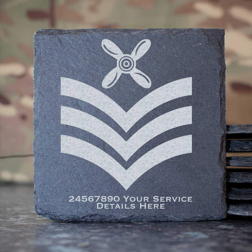 RAF Chief Technician Rank Slide Slate Coaster