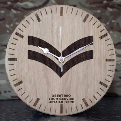 RAF Corporal Rank Slide Oak Clock