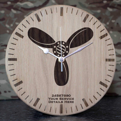 RAF SAC Rank Slide Oak Clock