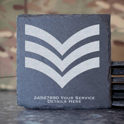 RAF Sergeant Rank Slide Slate Coaster