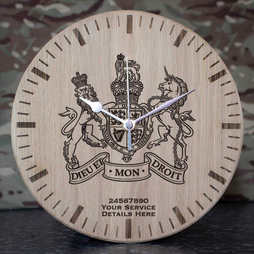 Warrant Officer Badge Oak Clock