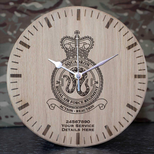 RAF Regiment 26 Squadron Oak Clock