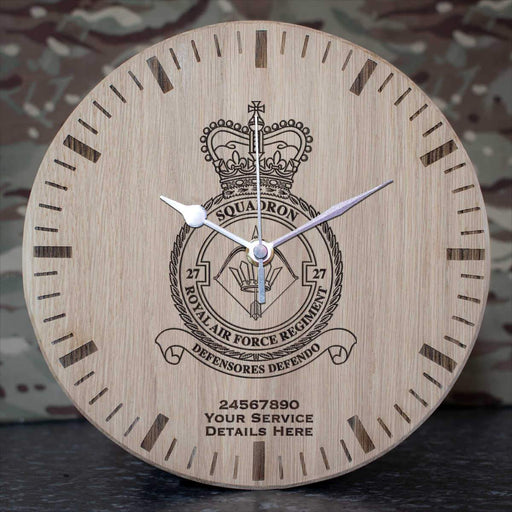 RAF Regiment 27 Squadron Oak Clock
