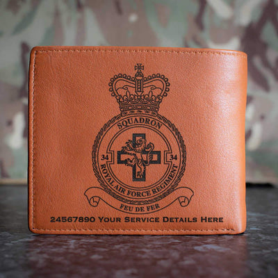 RAF Regiment 34 Squadron Leather Wallet