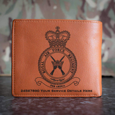 RAF Regiment Crest Leather Wallet