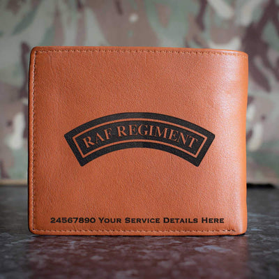 RAF Regiment Shoulder Badge (Black) Leather Wallet