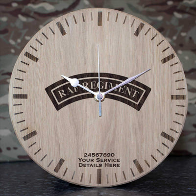 RAF Regiment Shoulder Badge (Black) Oak Clock