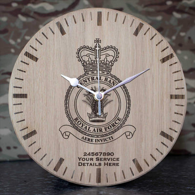 RAF Central Band Crest Oak Clock