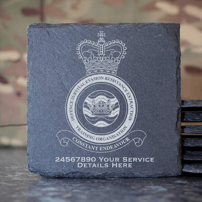RAF Defence Survival Evasion Resistance Extraction Training Organisation Slate Coaster