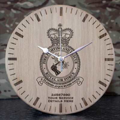 RAF Fire Fighting and Rescue Oak Clock