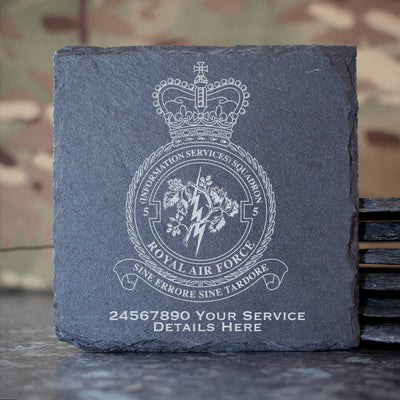 RAF 5 (Information Services) Squadron Slate Coaster
