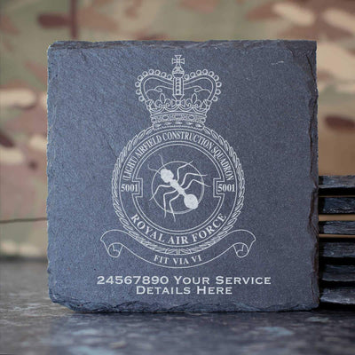 RAF 5001 (Light) Airfield Construction Squadron Slate Coaster